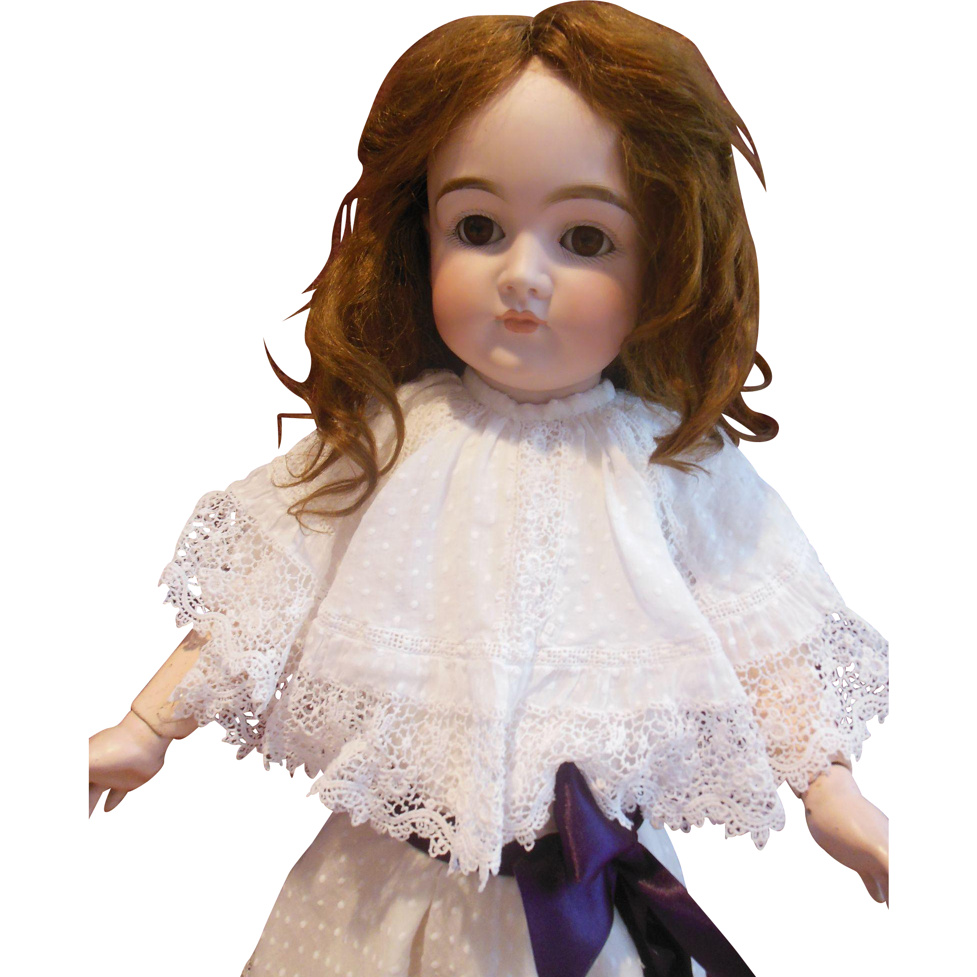 """Wonderful swiss dotted batiste dress with handmade lace and large collar for 23"""" doll"""