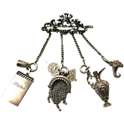 Charming Miniature Silver Brooch Chatelaine for a Doll or Fashion Accessory Collector, Vintage