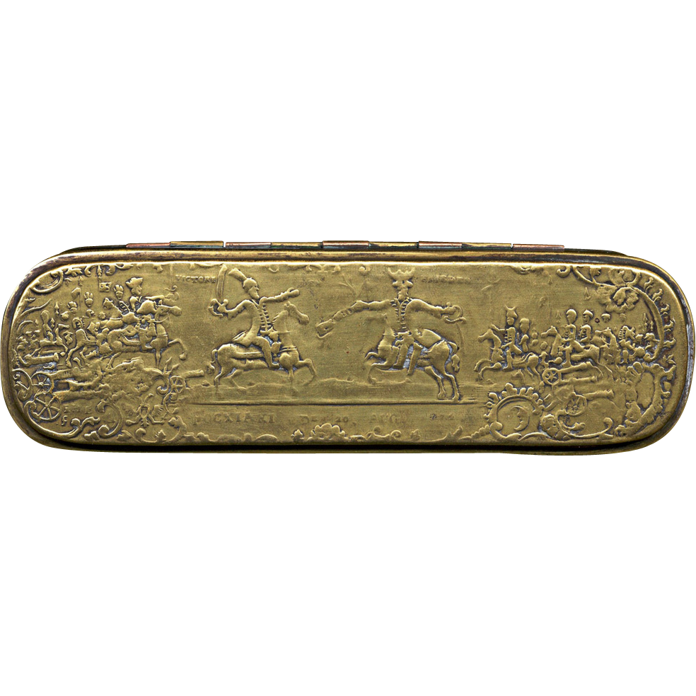 German Iserlohn Tobacco Box with battle scenes, 18th Century