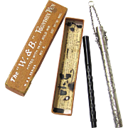 "Boxed ""W. & B."" Fountain Pen of Vulcanised Rubber with Gold Nib plus Classic Sterling Silver Pen Chatelaine, c1906"