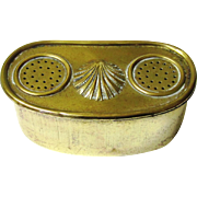 Decorative Brass Live Bait Box with Belt Loops for Fishing, c1910