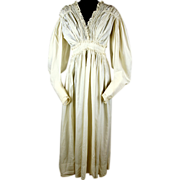 Romantic Silk Regency Gown with Gigot Sleeves and Lovely Lace