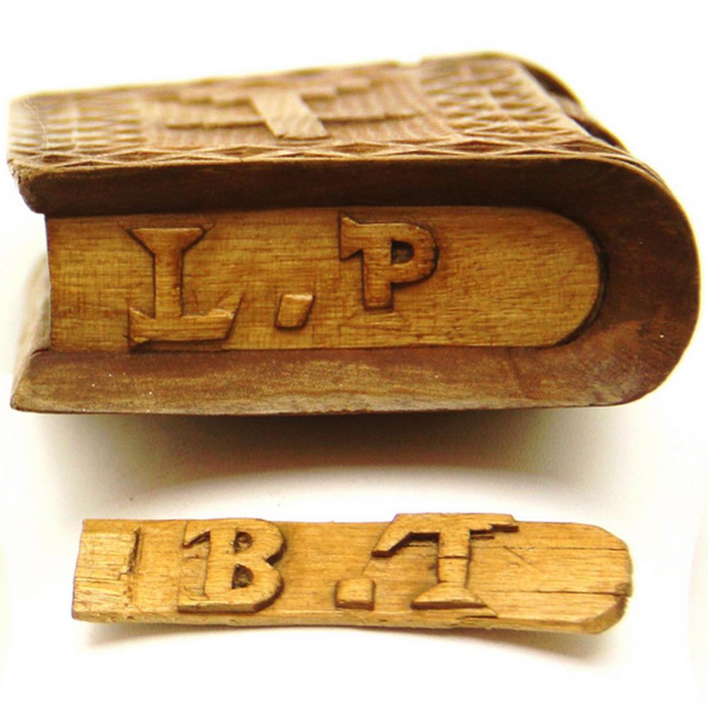 American folk art spruce gum box in book form chip carved