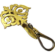 Stylish Gilt Metal Key Holder or Single-purpose Chatelaine, late 19th Century