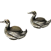 Delightful Pair of Sterling Silver Duck Pincushions, c1906