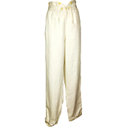 Rare Gentleman's Cream Fall-front Cotton Trousers, Regency