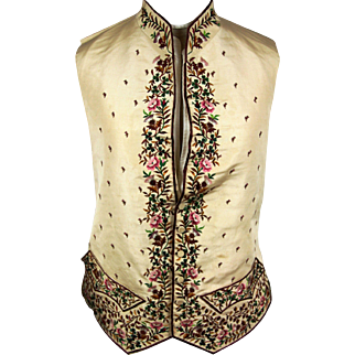 Spectacular Gentleman's Silk Embroidered Waistcoat, late 18th century