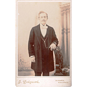 Sepia Cabinet Card of Well-dressed Gentleman Wearing a Guard Chain, American, 19th Century