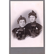 Fascinating Sepia Cabinet Card of Fashion, Jewellery & Hairstyles, American, late 19th Century