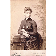 Cabinet Card Featuring Attractive Named Lady Wearing Vest Chain & Watch, c1880