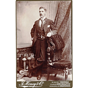 Sepia Cabinet Card of Dapper Gentleman wearing Double Albert or Dickens Chain, British