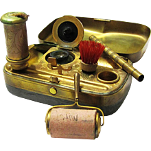 Intriguing Complete Gilt Metal Travelling Writing Etui, c1900