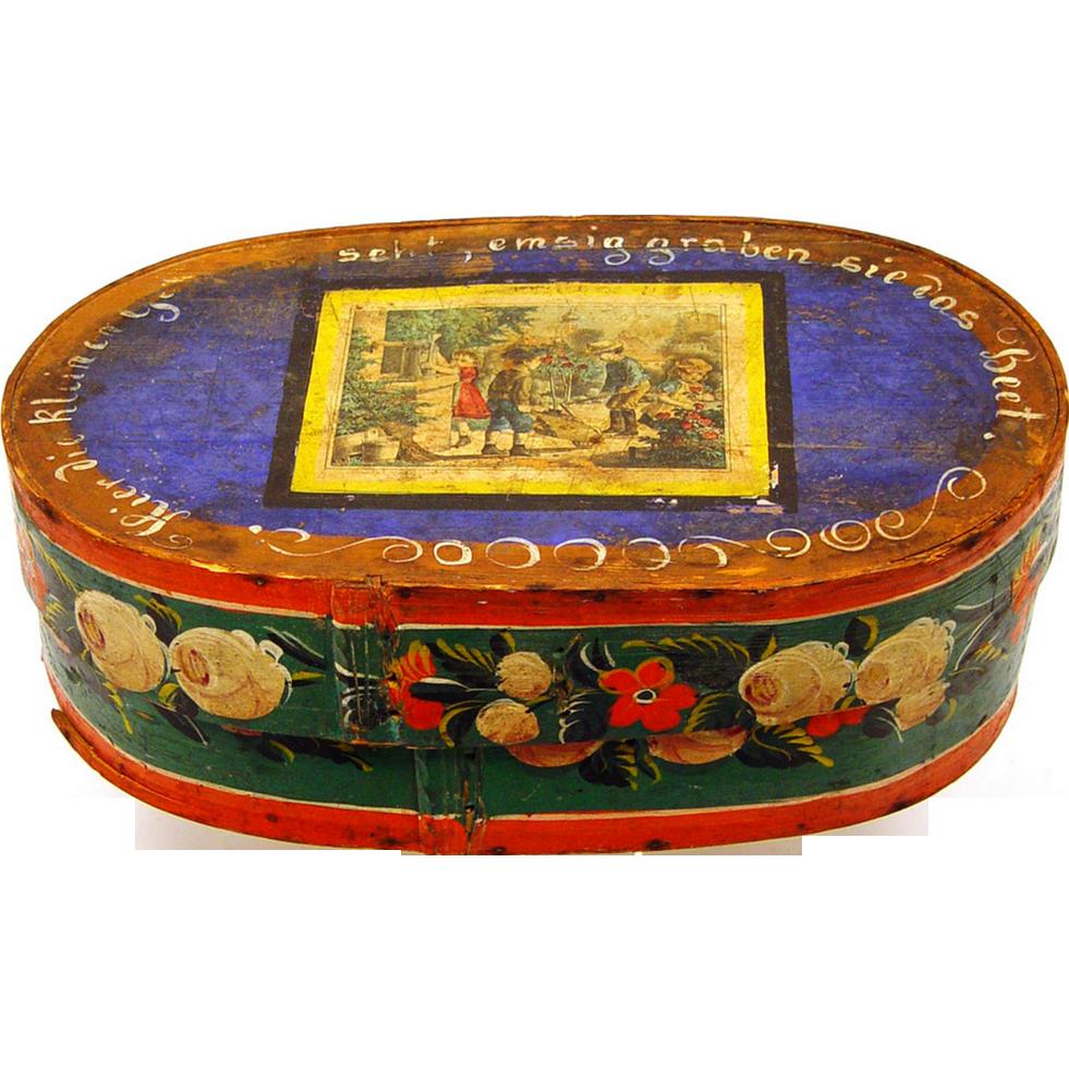 Pennsylvania German Bride's Box with delightful lithograph, 19th century