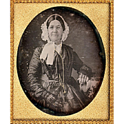 Coloured Cased Daguerreotype Depicting Fashionable Elder Lady, c1855