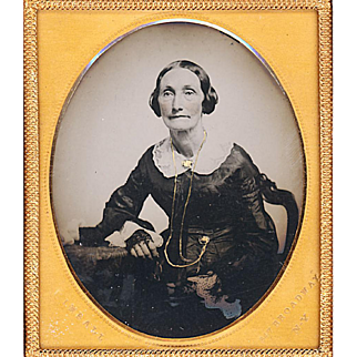 Hand-coloured Ambrotype of Elderly Lady with Gold Jewelry, Photographer Kimball, NY