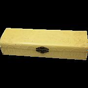 Cream Coloured Celluloid Necktie Box, Victorian