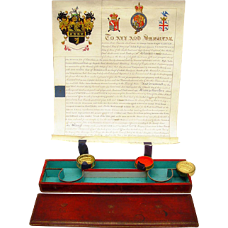 Extraordinary Named Document & Seal Box, c1827