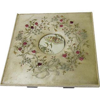 Attractive Satin & Ribbon Work Embroidered Frame, Vintage