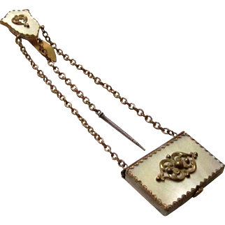 Charming Mother of Pearl & Gilt Metal Aide Memoir Chatelaine with Provenance, 1877