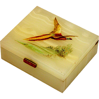 Edwardian Painted Alabaster Cigarette Box, c1905