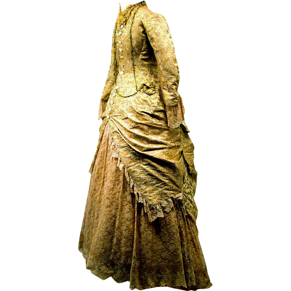 Elegant Golden Floral Silk Brocade and Lace Bustle Gown, French, c1875