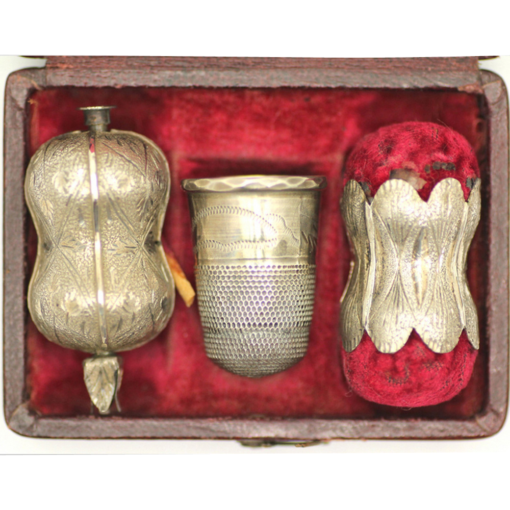 Boxed Silver 3-piece Sewing Set, c1850