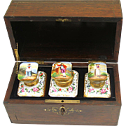 Stunning Rosewood Tea Chest with Painted Ceramic Canisters, French