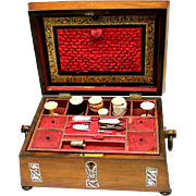Sewing Box with Mother of Pearl Decoration, Fitted, late Regency