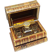 Secret Antique Tantalus Decanter Box in Book-form