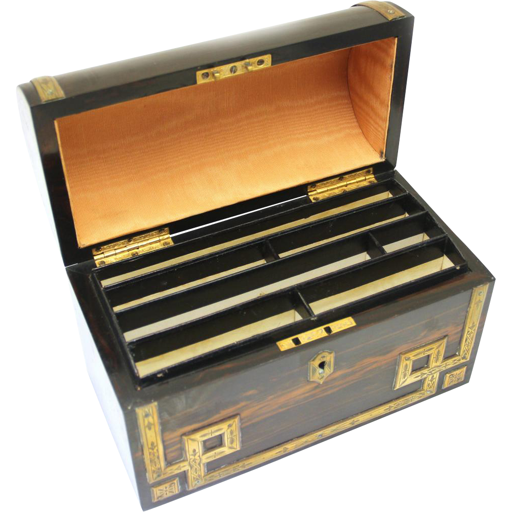 Coromandel and Brass Stationery Box, Victorian