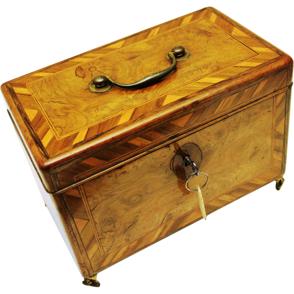 Inlaid Walnut Tea Caddy with Secret Side Drawer, late 18th – early 19th century