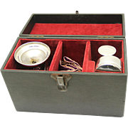 Complete Boxed Portable Communion Set with Four Pieces plus Stole, late 19th Century
