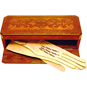 Kingwood Marquetry Glove Box with Drop-down Front, Victorian