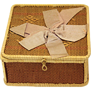 Wicker Handkerchief Box adorned with Ribbon Bow, late 19th Century