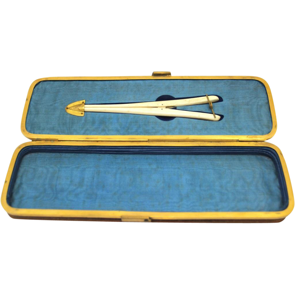 Leather and Brass Concertina Glove Box with Stretcher, late 19th Century