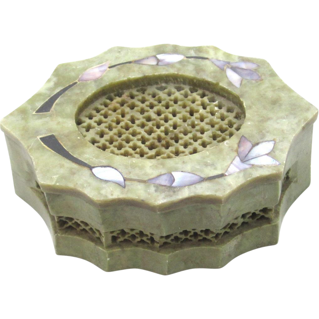 Cricket Box of Carved Soapstone, c1870