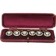 Boxed Set of Enamel and Gilt Buttons with Keepers, early 20th Century