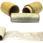 'Freedom City of London' Scrolls in Cylindrical Treen Box, Regency