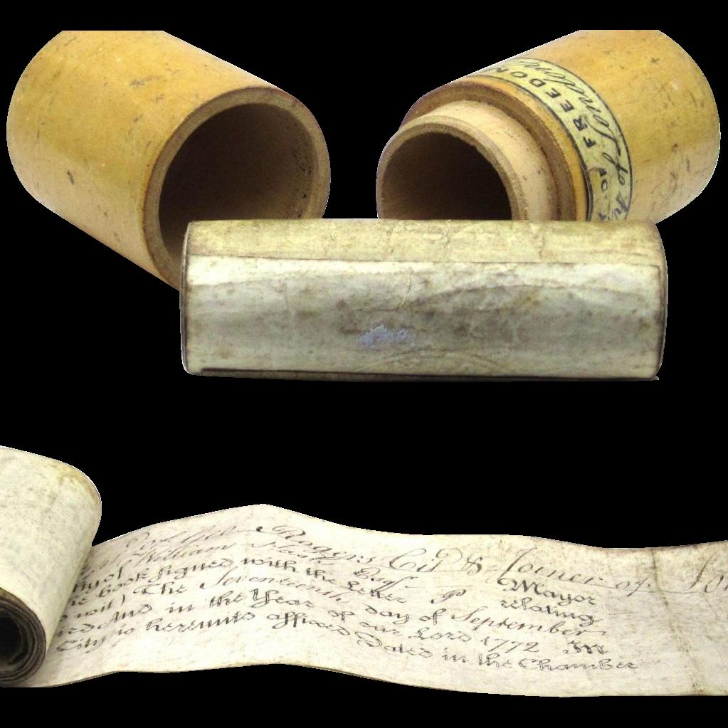 'Freedom City of London' Scrolls in Cylindrical Treen Box, Regency