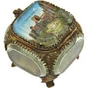 Souvenir Italian Jewelry Box of Eglomisé Glass and Gilt , Late 19th Century