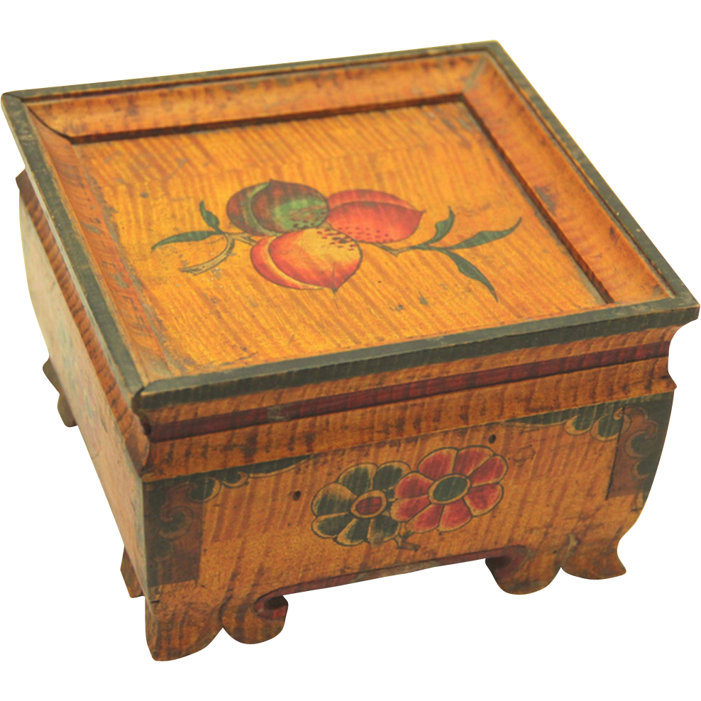 Tibetan Spice Box, painted Folk Art treen, c1900