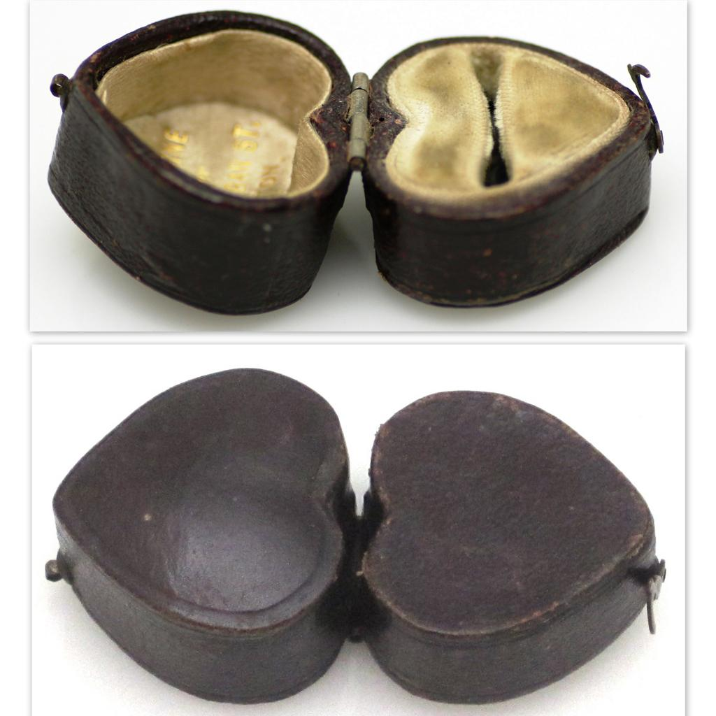 Vintage leather heart shaped ring box from rubylane sold for Heart ring box