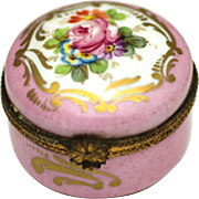 Pretty Ceramic Lidded Box with Floral Themes, c1840-1860