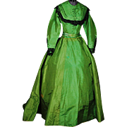 Vivid Emerald Green Silk and Black Lace Crinoline Gown, c1870