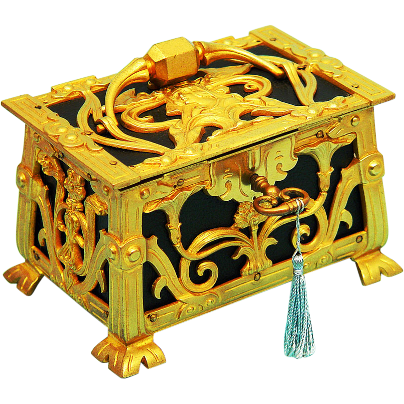Art Nouveau Jewellery/Jewelry Casket, Ormolu and Leather with key