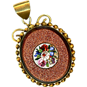 Magnificent Goldstone & Micro Mosaic Locket, late 19th Century