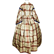 American Plaid Silk Gown, Pre-Civil War