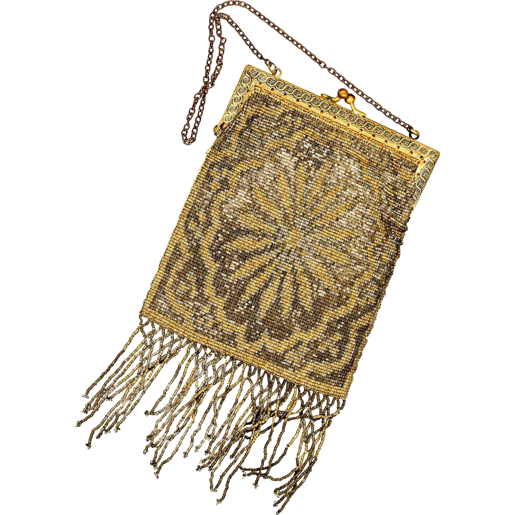 Lovely Silvered and Gilt Bead Purse, French, early 20th Century