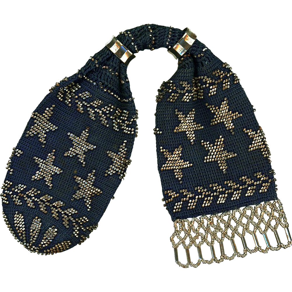 Deep Teal Blue Crochet and Steel Miser's Purse, early 20th Century