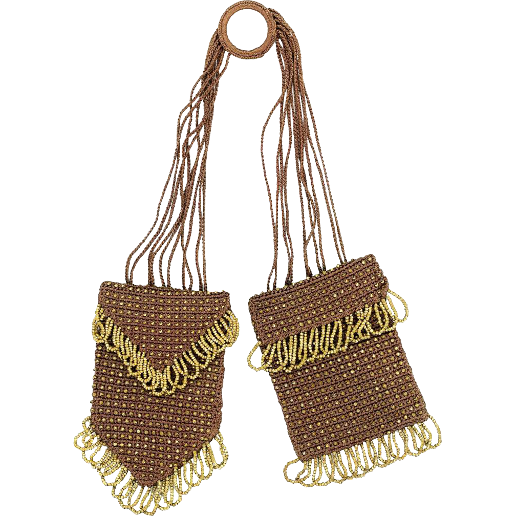 Double Norwegian Purse with Gilt Beads, early 20th Century